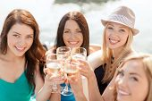 stock photo of champagne glasses  - summer holidays - JPG