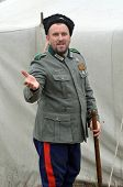 KIEV, UKRAINE -NOV 1: Member of Red Star history club wears historical uniform cossack of Corps von