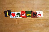 I Love Samba, Brazil, Sign Series For Dance, Music, Carnival.