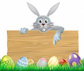 pic of ester  - Easter eggs and Easter bunny sign with the Easter bunny peeping over the sign and pointing at the message - JPG