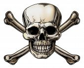 stock photo of pirate  - A skull and crossbones icon illustration of a human skull with crossed bones behind it - JPG