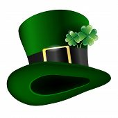 Green Hat With Clover Leafs - Saint Patricks Day Symbol