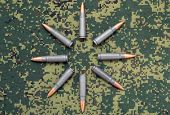 Eight Cartridges On Camouflage Background Bullets Oriented Outside