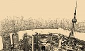 Vector illustration - aerial view of Shanghai above the river