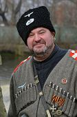 KIEV, UKRAINE -NOV 3: Member of Red Star history club wears historical uniform cossack of Corps von