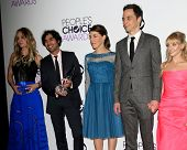 LOS ANGELES - JAN 8:  Kaley Cuoco, Kunal Nayyar, Mayim Bialik, Jim Parsons, Melissa Rauch at the Peo