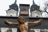 jesus christ on the cross. symbolic photo for good friday, easter and resurrection. linz, upper aust