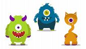 stock photo of monster symbol  - cute monsters clipart set with one eye - JPG