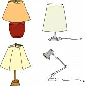 pic of lamp shade  - Group of four modern table lamps on white background - JPG