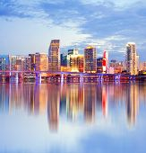 picture of atlantic ocean  - City of Miami Florida night skyline - JPG