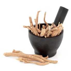 picture of ginseng  - Ginseng herbal medicine in a mortar with pestle over white background - JPG