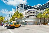 MIAMI,USA - MAY 20,2014 : Famous Art Deco Hotels at the corner of Lincoln Road Boulevard and Collins Avenue in South Beach