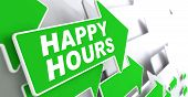 Happy Hours on Green Direction Arrow Sign.
