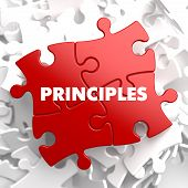 Principles - Concept on Red Puzzle.
