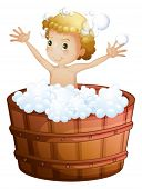 Illustration of a young boy taking a bath on a white background