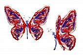 Blue Red White Paint Made Butterfly Set