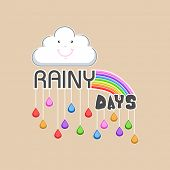 stock photo of rainy season  - Happy cloud with rainbows and hanging colourful raindrops on brown background - JPG