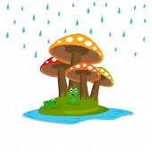 Happy Monsoon Season concept with cute frog sitting under colourful mushrooms.