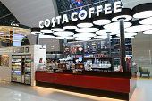 DUBAI, UAE - MARCH 30: Costa Coffee cafe in airport on March 30, 2014 in Dubai. Costa Coffee is a Br