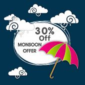 Stylish 30% Off, Monsoon Offer sticker, tag or label design with colourful open umbrella and clouds