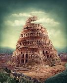 image of babylon  - Tower of Babel as religion concept - JPG