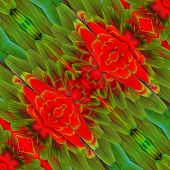 Consolidation Of Red Ang Green Macaw Bird Feathers Into Beautiful Background Pattern