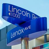 Street sign at Lincoln Road, a famous boulevard in Miami Beach