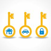 key for home ,car and lock stock vector