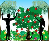 stock photo of adam eve  - Vector Illustration of Adam warning Eve not to eat the forbidden fruit in the Garden of Eden - JPG