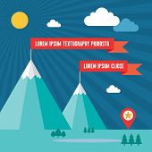 Snow Mountains with Red Flags in Flat Design Style