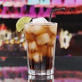 Cold Cola Drink Or Cuba Libre Cocktail In A Bar