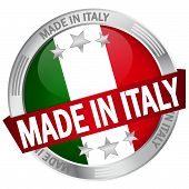 Button With Banner Made In Italy