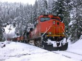 Snowy mountains freight train