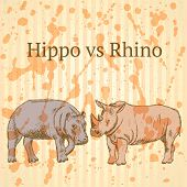 Sketch Hippo Vs Rhino, Vector Seamless Pattern Eps 10