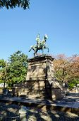 TOKYO, JAPAN - NOVEMBER 22, 2013:  Statue Of Warrior On Horse In Ueno District