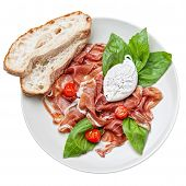Ham Salad With Poached Egg On White Background