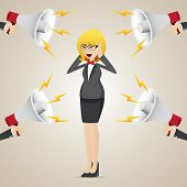 Cartoon Businesswoman With Noisy Megaphone