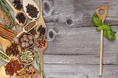 Herbs And Spices On Old Wooden Background