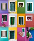 Collection of windows and doors on colored walls
