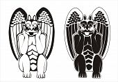 foto of waterspout  - Two versions of black and white vectorized gargoyles - JPG