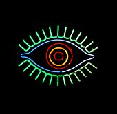 a glowing neon eye sign on a black background