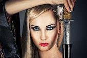 woman portrait with a samurai sword