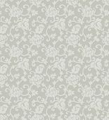 Floral ornament seamless vector background. Baroque flourishing background, two shades of grey.