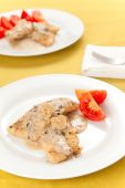 stock photo of mahi  - hake fillets with cheese sauce and mushrooms - JPG
