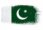 stock photo of pakistani flag  - illustration of the flag with brush strokes and transparent background - JPG