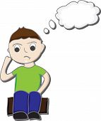 picture of youg  - Cartoon illustration of a boy sitting on a box thinking - JPG