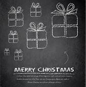 Christmas gift blackboard chalkboard vector