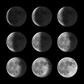 stock photo of lunar eclipse  - Series of lunar phases and the shadow on the moon - JPG