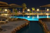 Hotel's Water Pool At Night