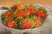 Asian Fruit Rambutan On Sack From Thailand